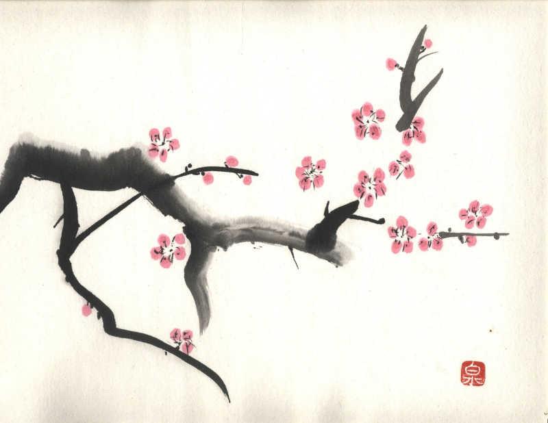 Peinture sumi-e d'une branche de cerisier sakura en fleurs
